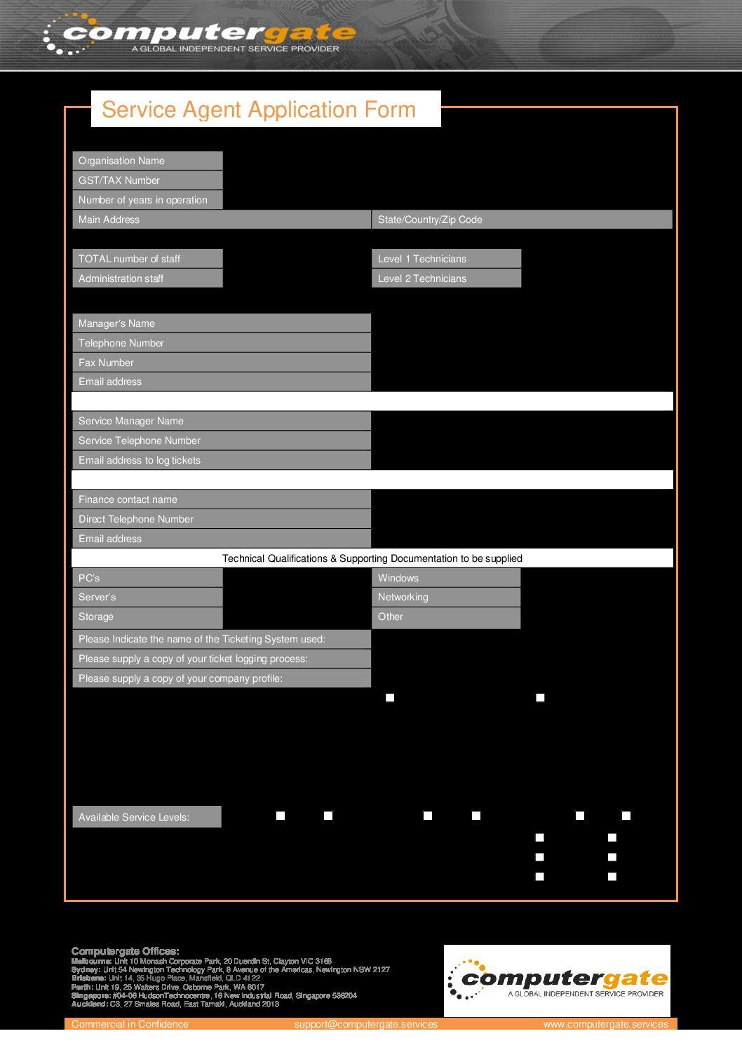Service Agent Application Form – 2020
