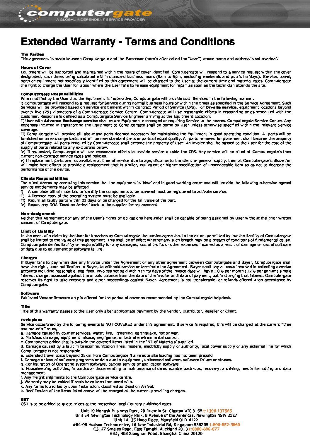 Warranty Certificate T&C's (2021)